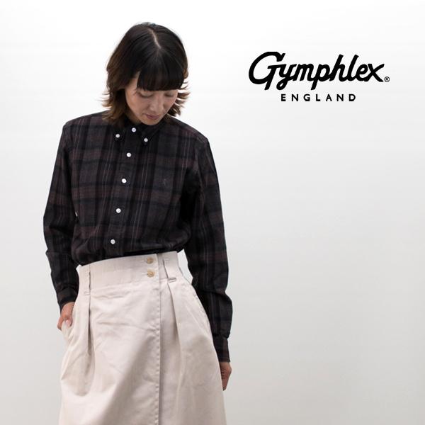 Gymphlex ジムフレックス レディース ビエラ起毛チェック ボタンダウンシャツ[J-0872VHC]【2019FW】
