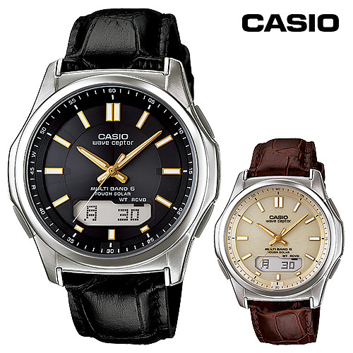 1d736a5a2752ae ソーラー電波腕時計 電波ソーラー腕時計 ソーラー電波時計 革ベルト メンズ WVA-M630L-9AJF WVA-M630L-1A2JFカシオ  電波ソーラーウォッチ(レザーバンド)