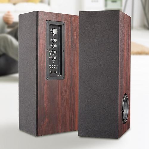 木目調2.1chタワー型スピーカー【コンパクト SD USB スピーカー TMB-74W】【送料無料】