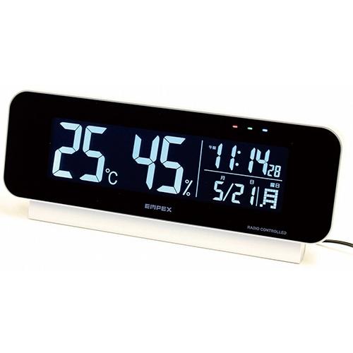とっても見やすい!電波時計付き温・湿度計 【温度計 湿度計 電波 置時計 エンペックス EMPEX TD-8262】【送料無料】