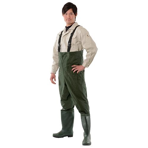 美品 高い柔軟性で 滑りにくい靴底 ショルダータイプで使いやすい ワークウェーダー ショルダータイプ #9640 家庭菜園 DIY 上等 作業着 PVC ズボン 軽量 釣り パンツ