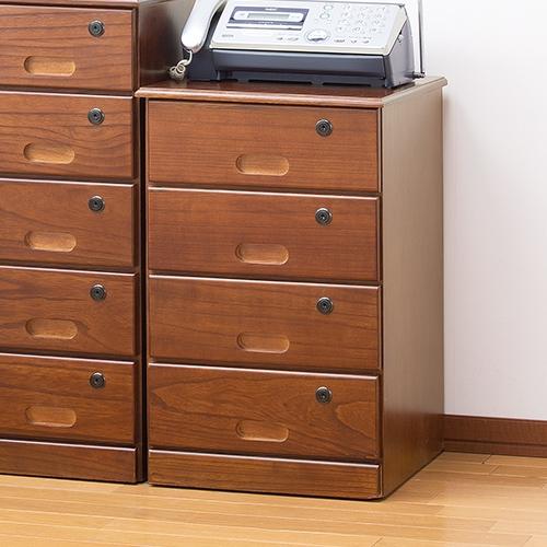 4段【電話台 【直送】天然木全段鍵付きシークレットチェスト タンス 棚】 FAX台 家具
