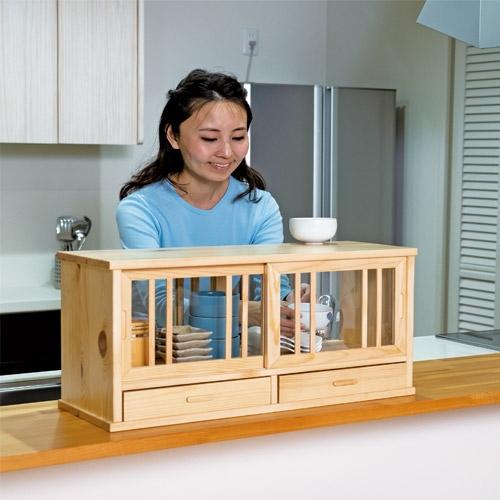 木製キッチンカウンター上収納棚 60cm【キッチン 収納 食器棚】