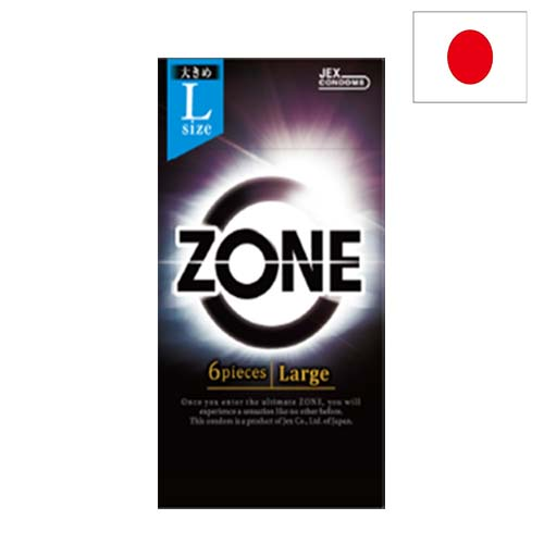 コンドーム選びの基準が変わる 理想の ナマ感覚 ZONE ゾーン ネコポス対応 L 6個入り コンドーム スキン 避妊具 JEX ビッグ ビッグサイズ 大きい 家族計画 流行 余裕 ステルスゼリー ジェックス ラテックス 激安通販 大きな Lサイズ
