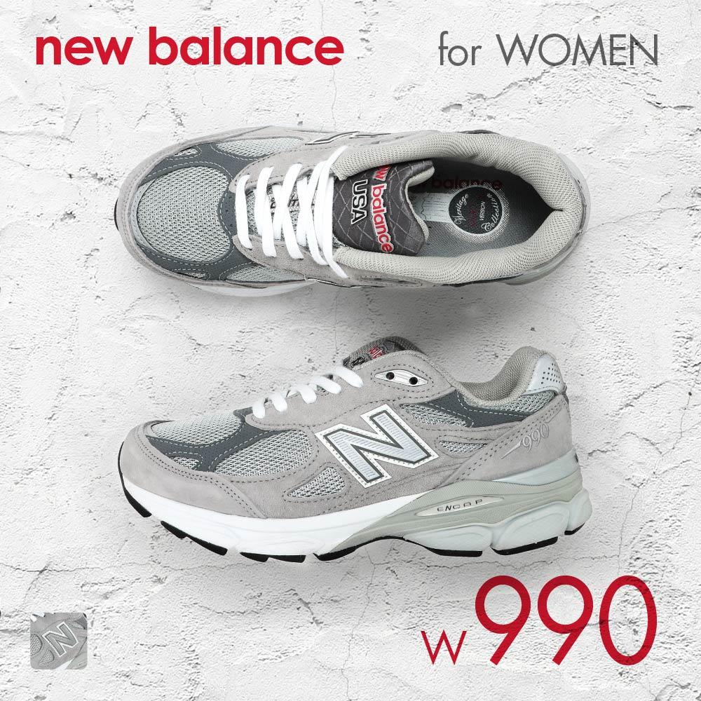 ニューバランス New Balance W990 レディース シューズ スニーカー NB-W990GL3-GRY-6-D NB ブランド ランニング スポーツ