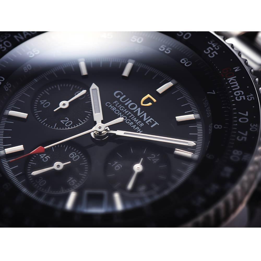 腕時計 ジャンル制覇 パイロット クロノグラフ の絶対的王者 GUIONNET Flight Timer 限定モデル ブルーインパルス コラボ メンズ クロノグラフ 100m 防水 メタルベルト ビジネス 時計 男性 メンズ腕時計 スマートウォッチ
