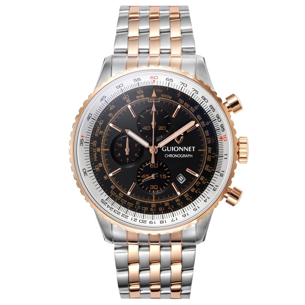 ギオネ GUIONNET Flight Timer Professional メンズ 時計 腕時計 PG-FT44PSBK 【ブランド】 とけい ウォッチ 1位(12月4日現在)プレゼント 送料無料 あす楽 ブルーインパルス コラボ レザーベルト 無反射コーティング