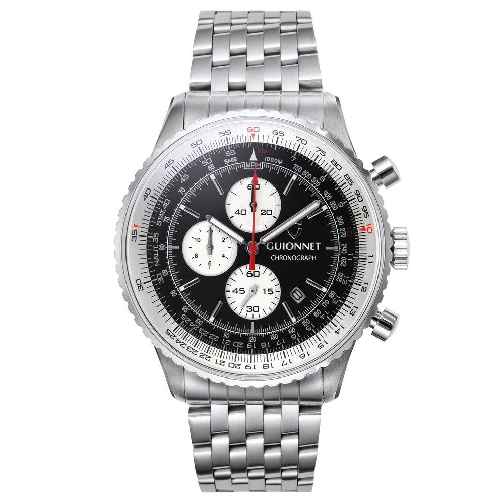 ギオネ GUIONNET Flight Timer Professional メンズ 時計 腕時計 PG-FT44SBKWH 【ブランド】 とけい ウォッチ 1位(12月4日現在) プレゼント 送料無料 あす楽 ブルーインパルス コラボ レザーベルト 無反射コーティング