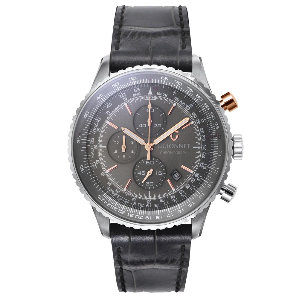 ギオネ GUIONNET Flight Timer Professional メンズ 時計 腕時計 PG-FT44SGY とけい ウォッチ 1位(12月4日現在) プレゼント 送料無料 あす楽 ブルーインパルス コラボ レザーベルト 無反射コーティング