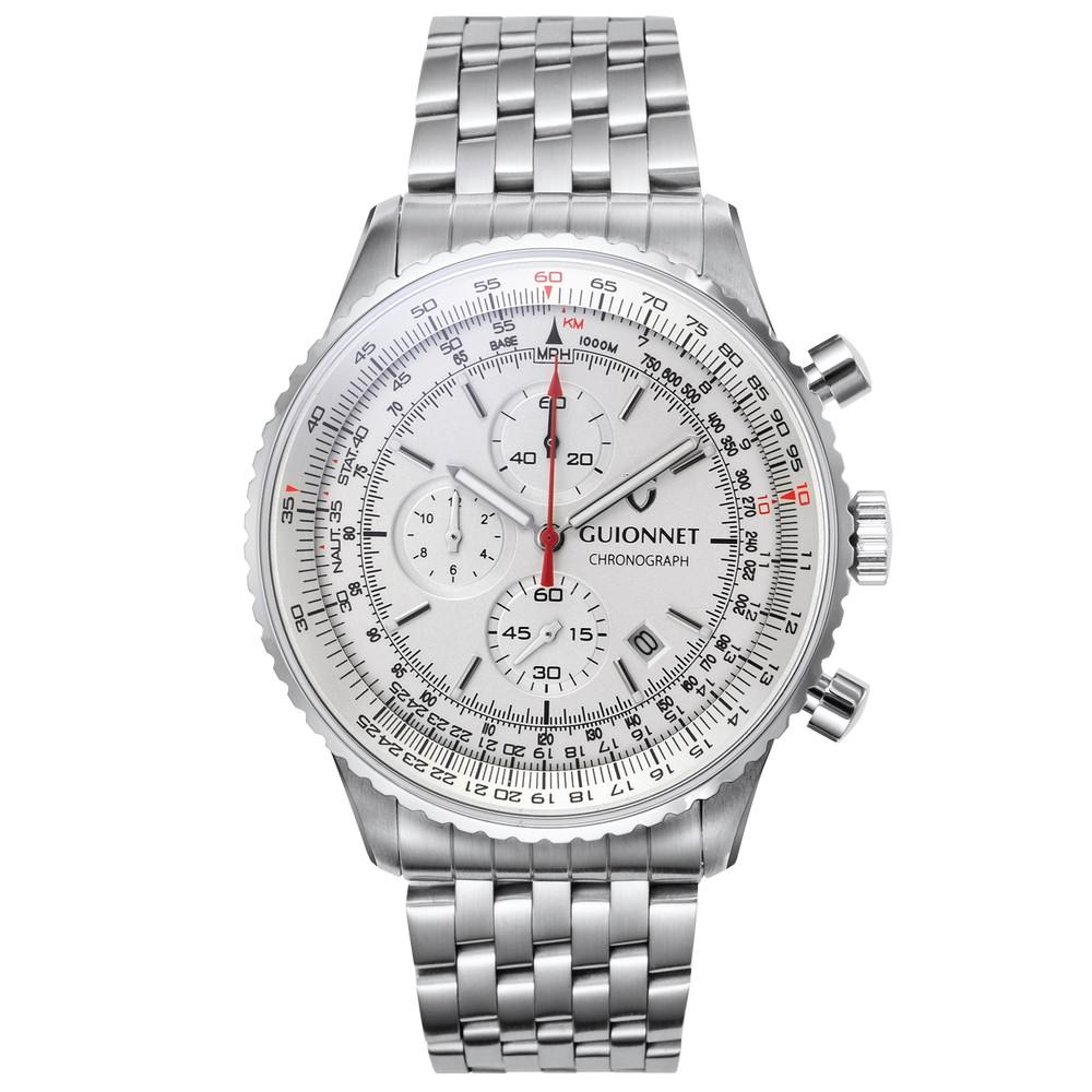 ギオネ GUIONNET Flight Timer Professional メンズ 時計 腕時計 PG-FT44SSV 【ブランド】とけい ウォッチ 1位(12月4日現在) プレゼント 送料無料 あす楽 ブルーインパルス コラボ レザーベルト 無反射コーティング