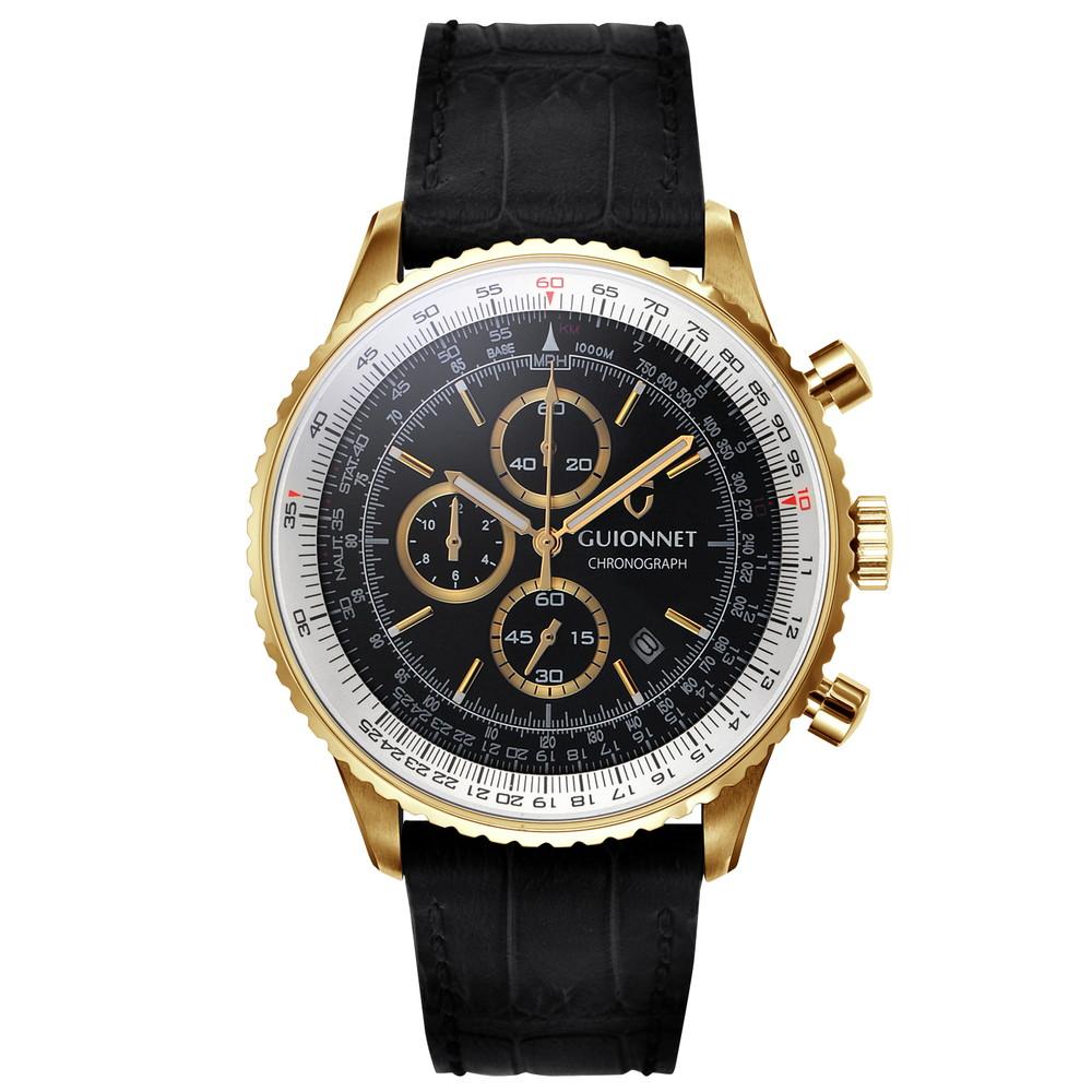 ギオネ GUIONNET Flight Timer Professional メンズ 時計 腕時計 PG-FT44YBK 【ブランド】 とけい ウォッチ 1位(12月4日現在) プレゼント 送料無料 あす楽 ブルーインパルス コラボ レザーベルト 無反射コーティング