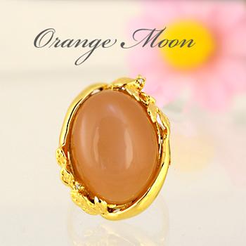オレンジムーンストーン リング 18ct 【SV925】超大粒