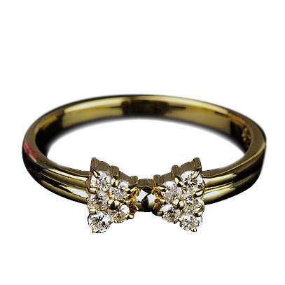 正規品 ダイヤモンド リング リボン型 K18YG 価格