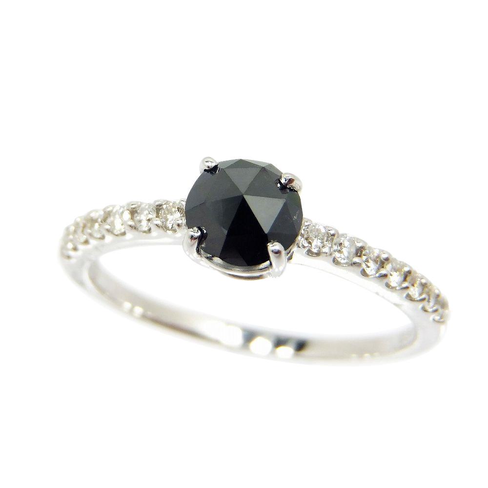 ブラックダイヤモンド リング 0.5ct K18WG 激安格安割引情報満載 高価値
