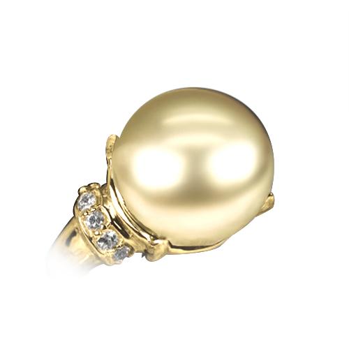 南洋ゴールデンパール リング 12mm【K18YG】【南洋 真珠】