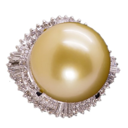 南洋ゴールデンパール リング 16mm【Pt900】【南洋 真珠】超大粒