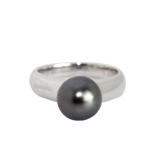 ブラックパール リング 8mm【K18WG】【黒真珠 タヒチ産】