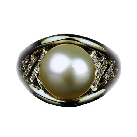 南洋ゴールデンパール リング 10mm【K18YG】【南洋 真珠】