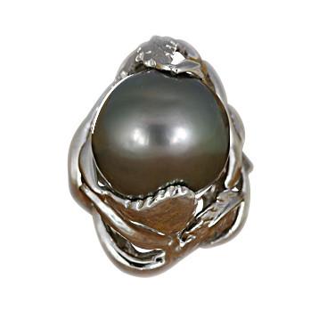お中元 南洋ブラックパール リング 12mm ☆送料無料☆ 当日発送可能 タヒチ産 SV925 黒真珠
