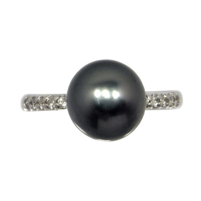 安売り ブラックパール リング 8.5mm タヒチ産 K18WG 黒真珠 商品追加値下げ在庫復活