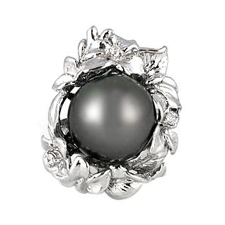 ブラックパール 〔ブラック〕リング 14mm【SV925】【黒真珠 タヒチ産】特大