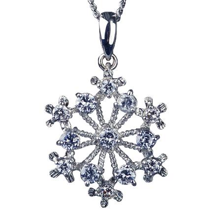 ダイヤモンド ペンダント 0.5ct 【K18WG】雪結晶