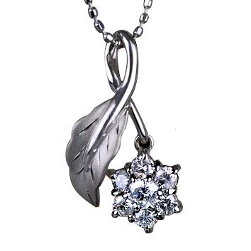 ダイヤモンド ペンダント 0.3ct 【K18WG】お花型