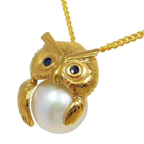 定番から日本未入荷 パール ネックレス K10YG アコヤ フクロウ 真珠 至高