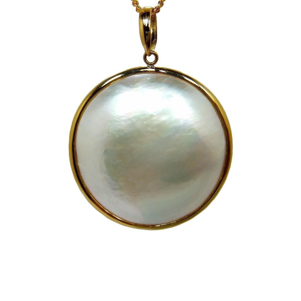 白蝶貝 マベタイプ ペンダント 20mm K18YG 南洋 値引き 卸売り 真珠