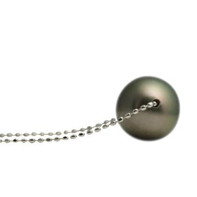 ブラックパール ネックレス 10mm【K18WG】【黒真珠 タヒチ産】