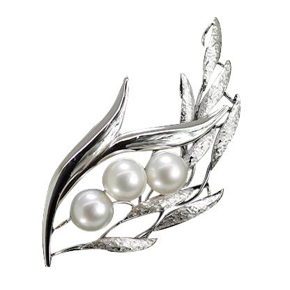 アコヤ ふるさと割 パール ブローチ 8.5mm 3個付き SV925 真珠 高級な
