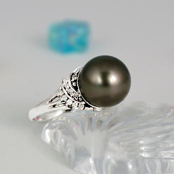 ブラックパール リング 11mm【K18WG】【黒真珠 タヒチ産】