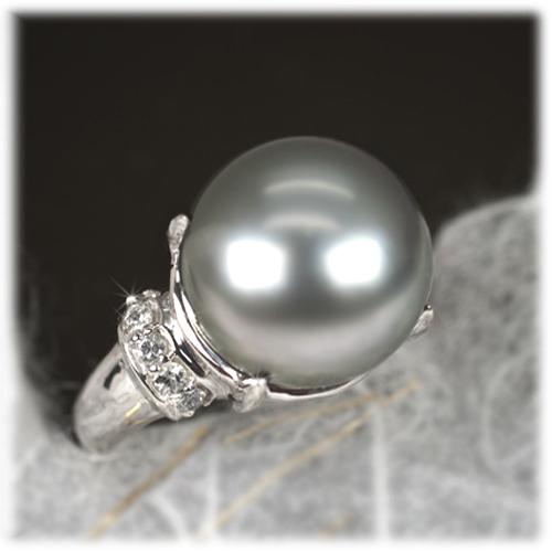 ブラックパール リング 12mm【K18WG】【黒真珠 タヒチ産】