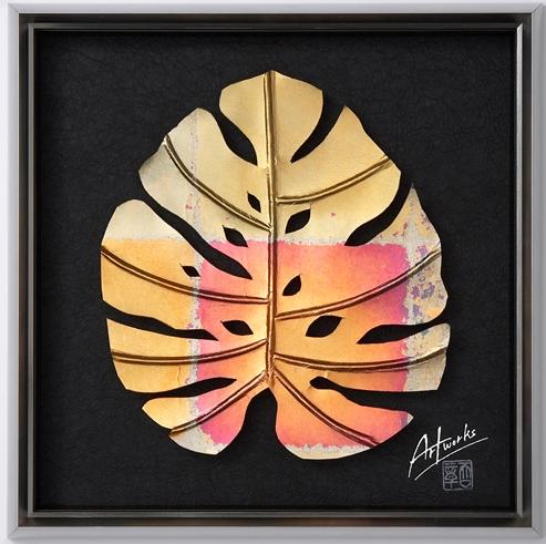 Art Works モンステラ NANASAI L インテリア 雑貨 おしゃれ 壁 和紙 和風 モダン 額装アート 母の日 ギフト 新築祝い 壁飾り アジアン リビング 寝室