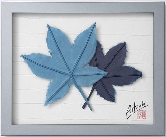 Art Works マロニエ 藍染め インテリア 雑貨 おしゃれ 壁 和紙 和風 モダン 額装アート ギフト 新築祝い 壁飾り アジアン リビング 寝室