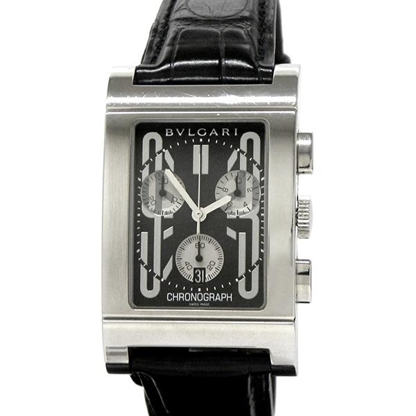 BVLGARI ブルガリ レッタンゴロ クロノ RTC49S クォーツ ブラック文字盤 腕時計 メンズ ブランド 質屋