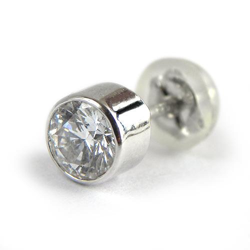 美しい輝きのダイヤモンドピアス 一粒 ダイヤモンド 片方ピアス D0.375ct セール商品 プラチナ ベゼルセッティング ジュエリー PT900 購買 片耳用 スタッド フクリン留め メンズ 新品