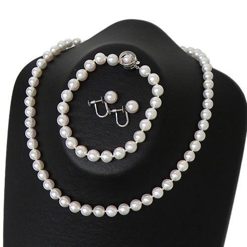 パール 3点セット 真珠 使い勝手の良い ネックレス ブレスレット イヤリング 冠婚葬祭 フォーマルジュエリー 奉呈 約6.5~7mm パーティ 中古
