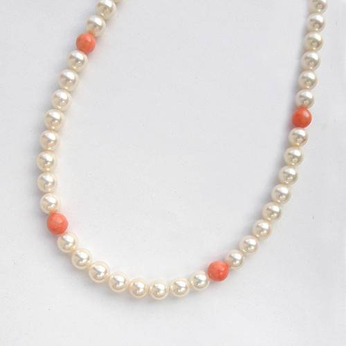 パール サンゴ ネックレス 46cm あこや真珠 6~6.5mm 白 珊瑚 ピンク ステーション ジュエリー【新品】