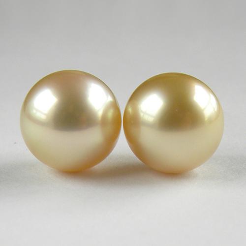 テリの良いゴールド系パール2個 本真珠 ルース 真珠 約10mm 2個 約11mm 片穴 数量限定 ペア 2粒 手芸材料 南洋 お得クーポン発行中 ネコポス配送 白蝶 天然石 素材 中古 ジュエリー セミラウンド玉 ゴールド系 パール
