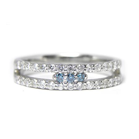 ブルーダイヤモンド リング D0.5カラット 13号 プラチナ カラーダイヤ 指輪 PT900 ジュエリー 【中古】
