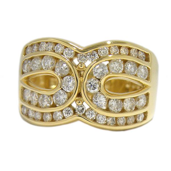 ダイヤモンド リング 1カラット イエローゴールド K18YG 18K 18金 gold 指輪 ワイド 幅広 12号 ジュエリー 【中古】
