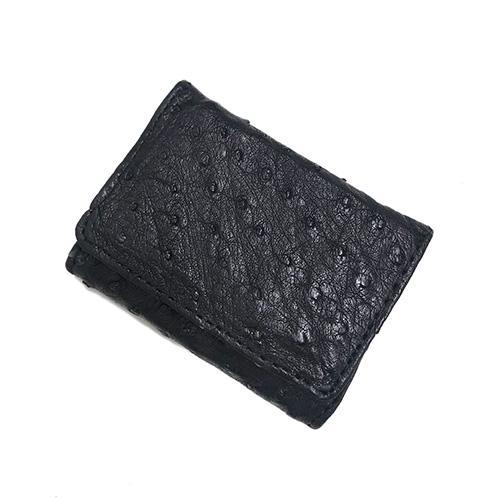 コインケース ボックス型 レザー オーストリッチ ミニサイズ 小銭入れ ギフト 本革 極小 中古 格安激安 メンズ ネコポス配送 ブラック 小さい ミニ 黒 コンパクトサイズ