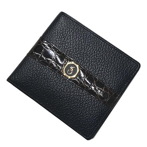 メンズ ブランド品 財布 黒 ギフト カランダッシュ 二つ折り クロコ 中古 d'Ache 革 レザー ブランド Caran
