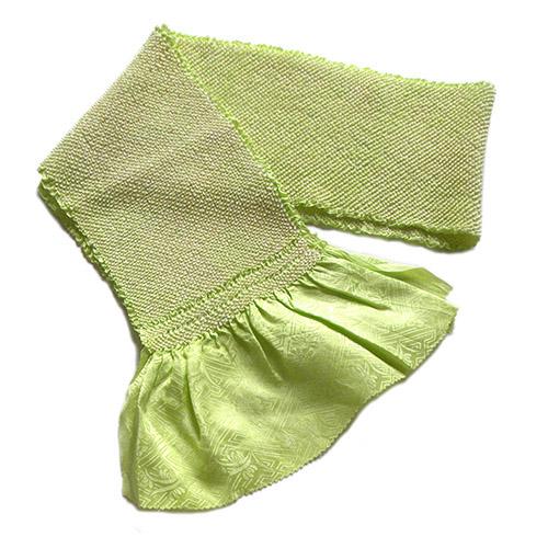 黄緑シルク総絞り 帯揚げ 新品 送料無料 絞り 黄緑 2020春夏新作 正絹 総絞り 紗綾形 着付け ネコポス配送 手芸材料 シルク 布地 生地 和装小物 中古