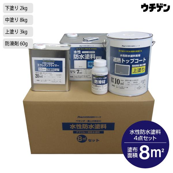 アトムハウスペイント 遮熱・防水 水性防水塗料4点セット 8平米 ウレタン防水塗膜 塩ビシート防水