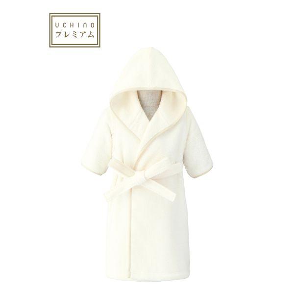 (送料無料)日本製 ホワイト オーガニック ベビー バスローブ 90 赤ちゃんに安心 ウチノタオルギャラリー(内野) ギフト対応 贈り物 プレゼント 出産祝い