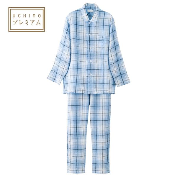 【送料無料】(内野)UCHINO クレープガーゼチェックメンズパジャマ