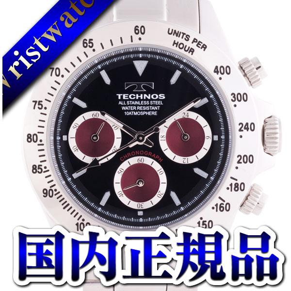 TECHNOS techno T4265SR chronograph domestic regular article clockface black wine red 10 standard atmosphere waterproofing men watch sale kind present