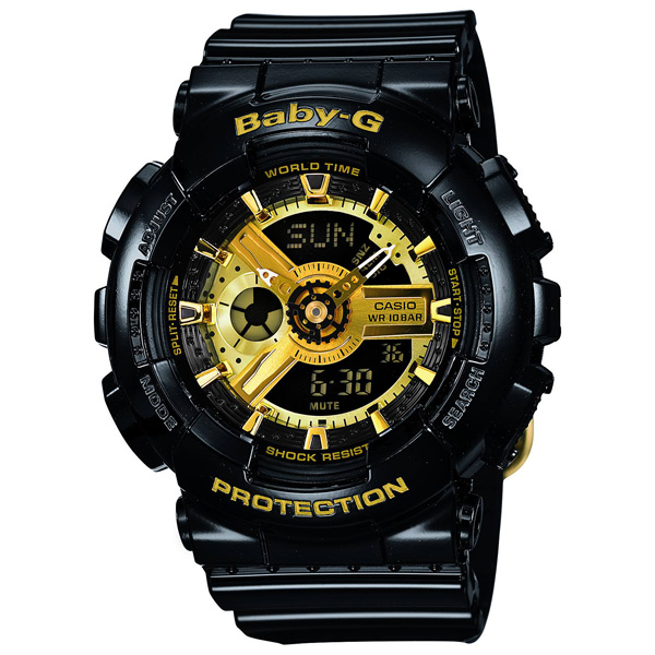 The present ass recreation that BA-110-1AJF CASIO Casio Baby-G gold black Fe ベイビージーベビージー Baby-G black Baby-G Lady's watch fashion shows cute